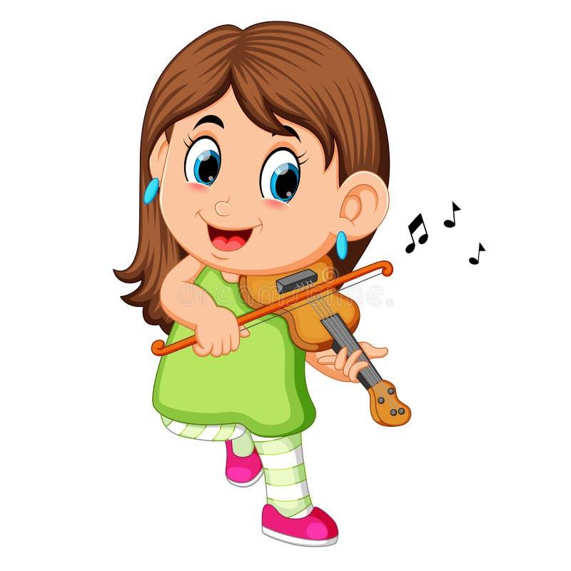 Mulher nova que joga o violino ilustração royalty free