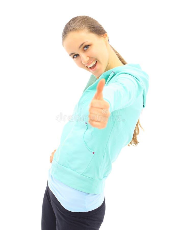 Mulher nova que mostra ESTÁ BEM foto de stock royalty free