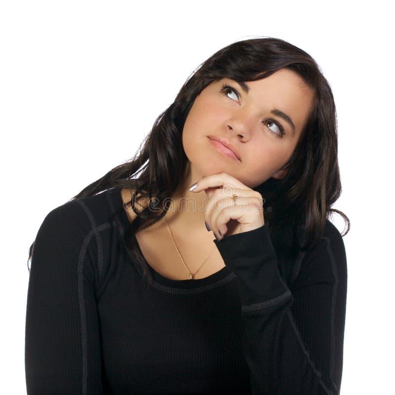 Mulher nova que olha acima no projecto foto de stock royalty free