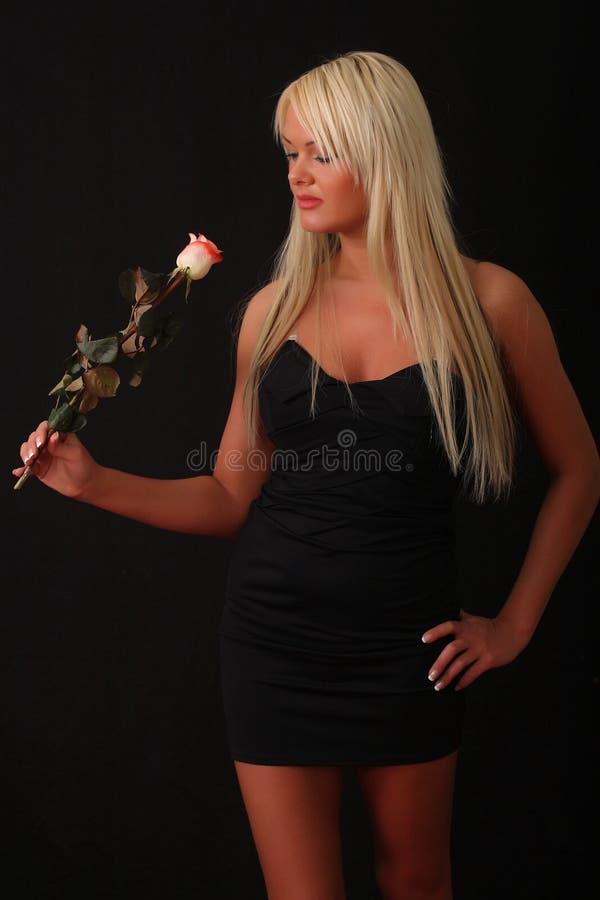 Mulher nova que prende uma rosa imagens de stock royalty free