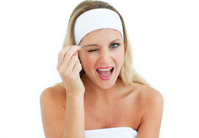 Download Mulher Nova Que Usa Tweezers Imagem de Stock - Imagem de pessoa, cosméticos: 12813861