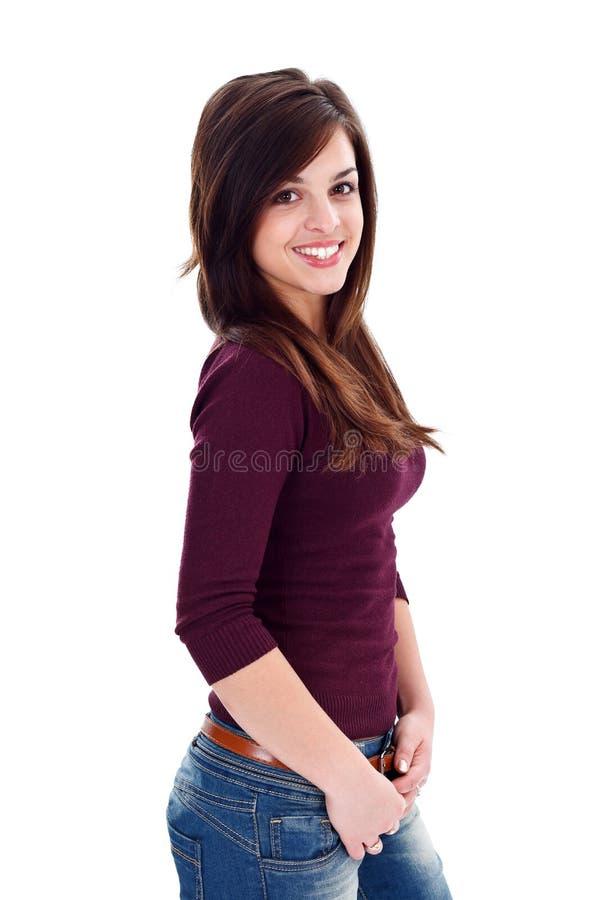 Mulher nova sedutor foto de stock