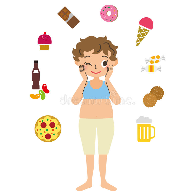 Mulher obeso com o apetite ilustração stock