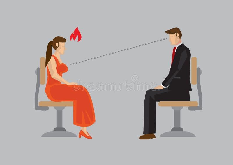 Mulher ofendida pelo homem rude que come com os olhos em seu vetor IL dos desenhos animados dos peitos ilustração do vetor