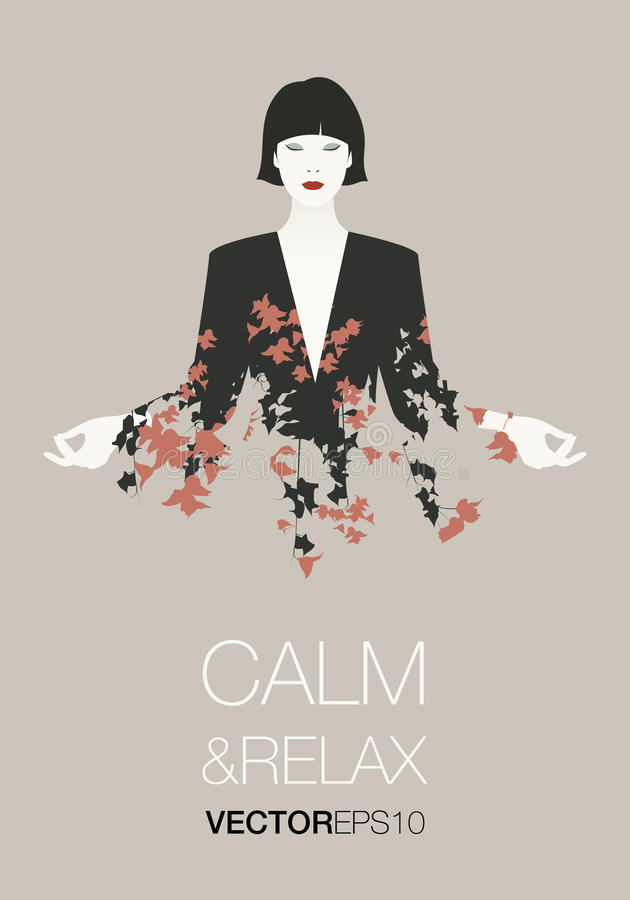 Mulher oriental nova bonita e elegante que veste a roupa florido que faz a ioga ilustração royalty free