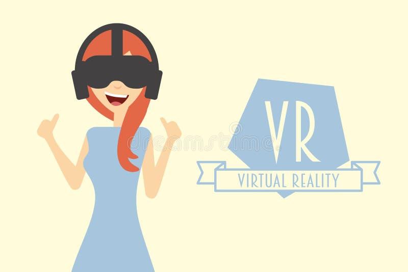 Mulher ou menina vermelha do cabelo que vestem auriculares da realidade virtual ilustração royalty free