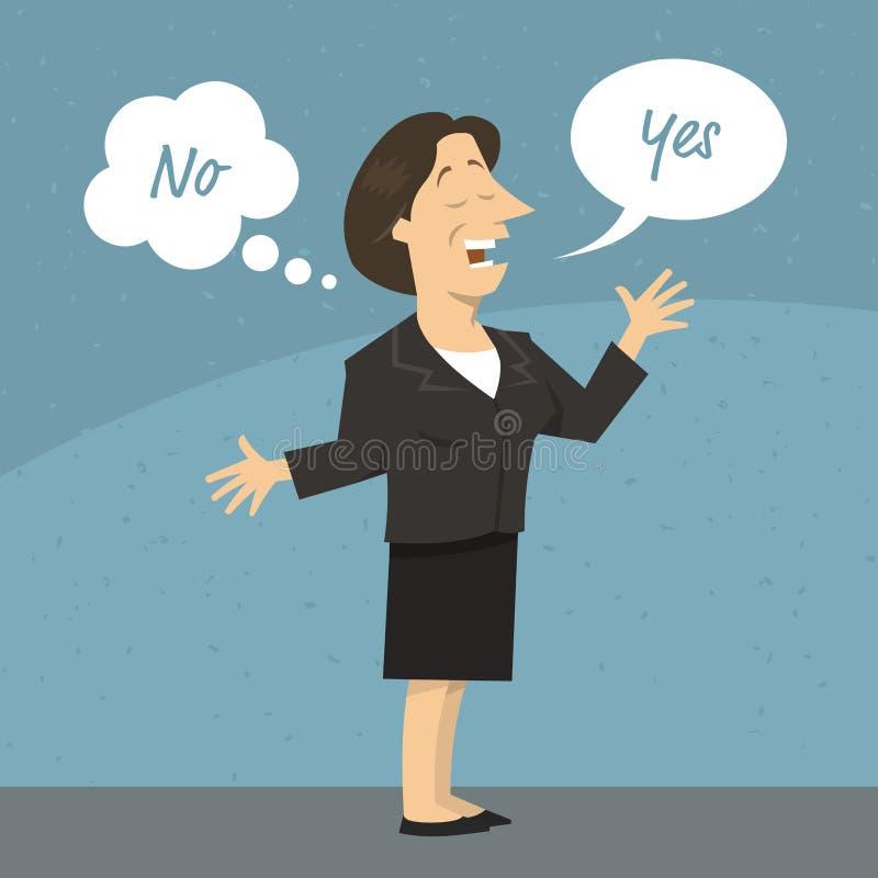 Mulher ou político fêmea de negócio que dizem uma mentira ilustração do vetor