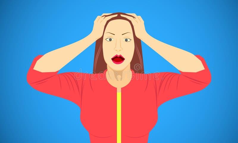 A mulher pôs a mão sobre a cabeça para emoções chocados amedrontadas chocadas assustados da sátira Ilustra ilustração stock