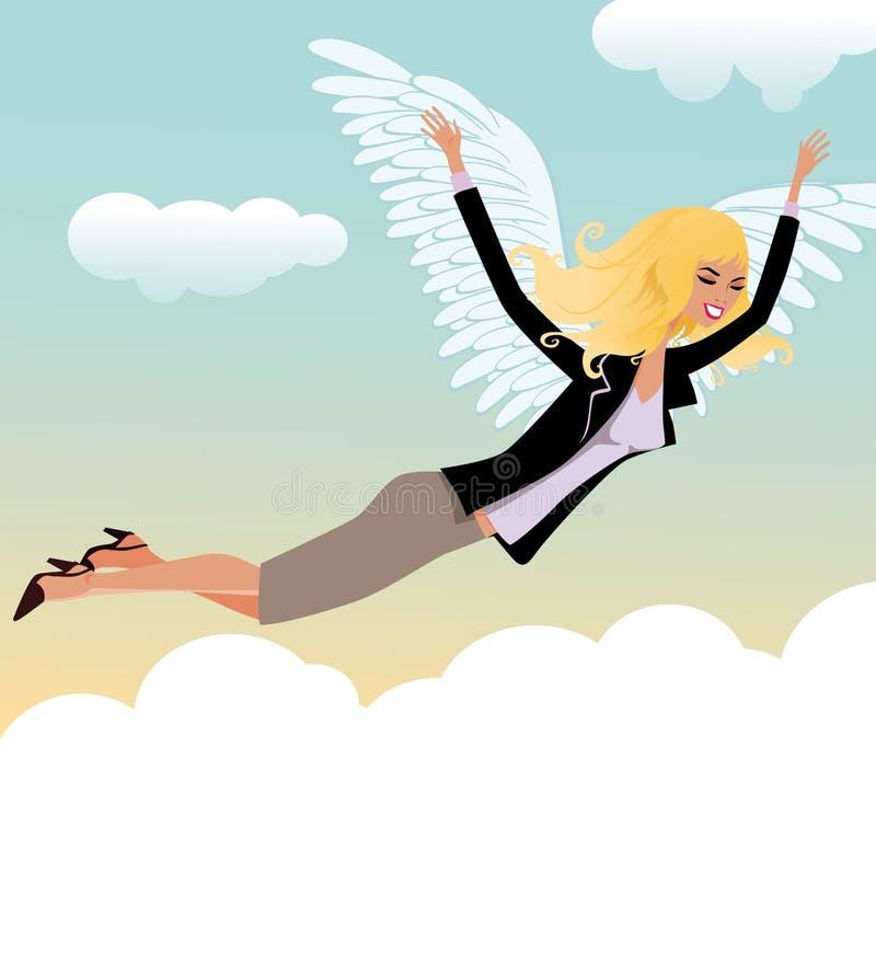 A mulher paira nos céus da felicidade ilustração stock