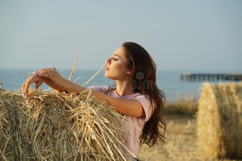 Mulher pelo por do sol no campo foto de stock