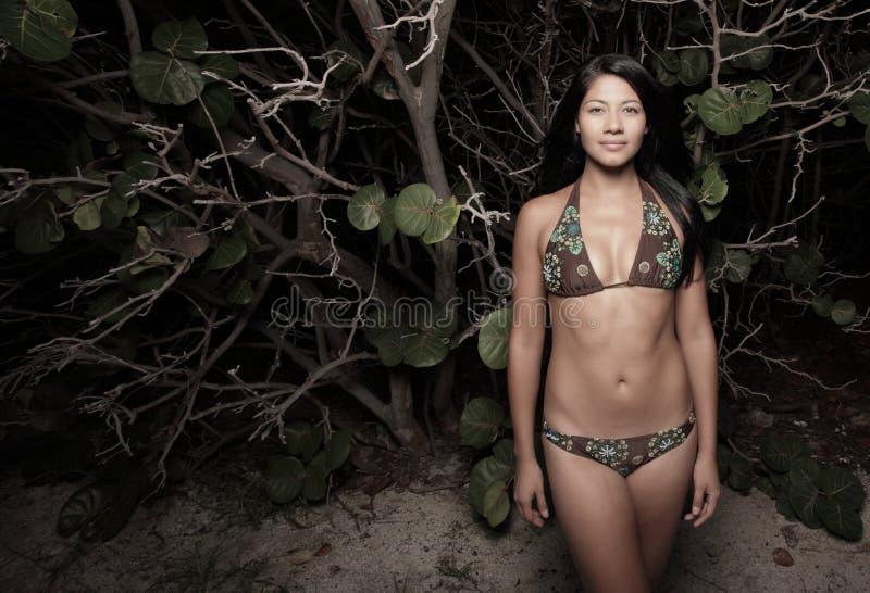 Mulher pelos manguezais na praia fotos de stock royalty free