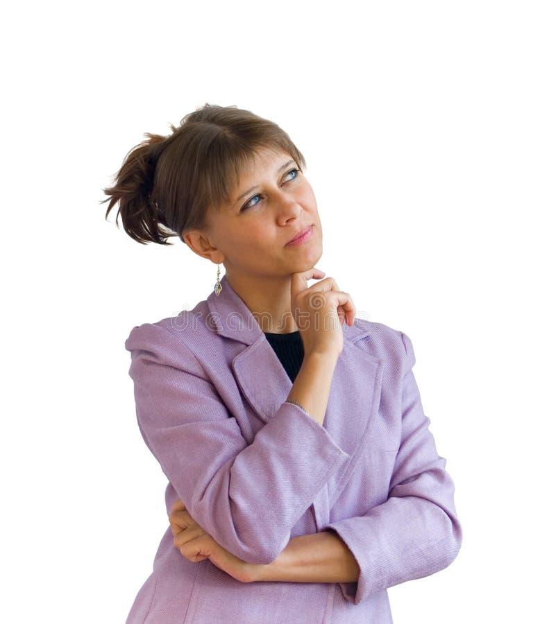 A mulher pensa imagem de stock