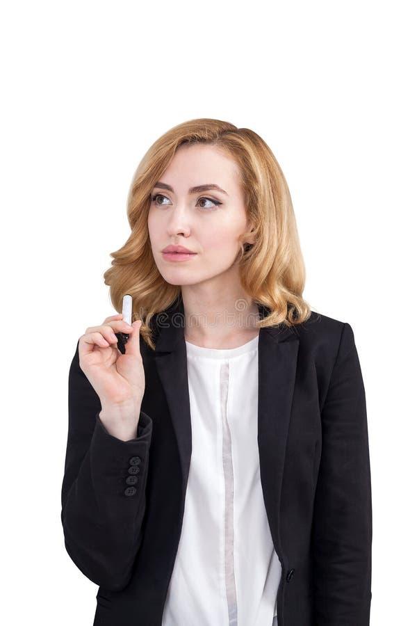 Mulher pensativa do gengibre com marcador fotografia de stock