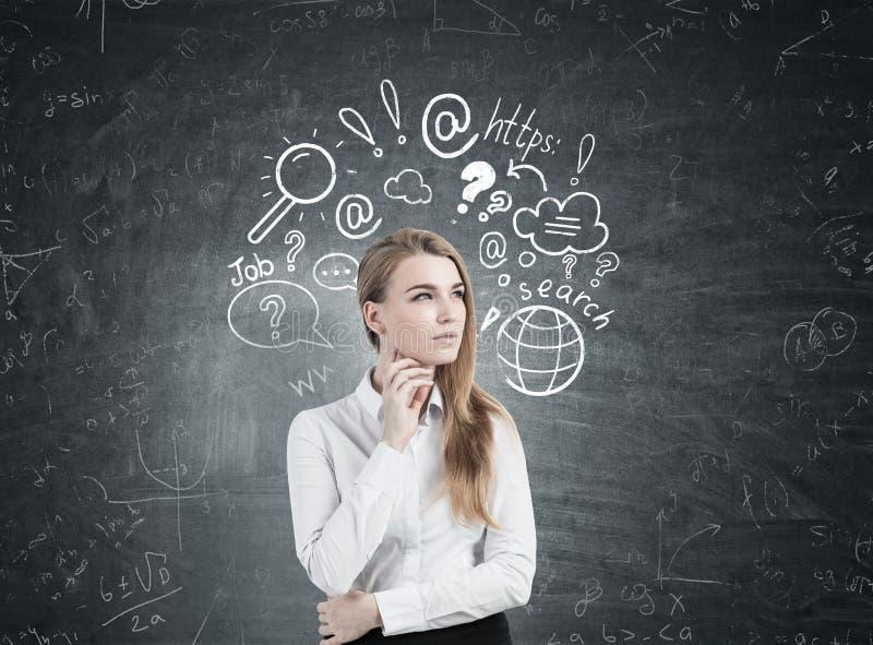 Mulher pensativa e busca em linha imagens de stock
