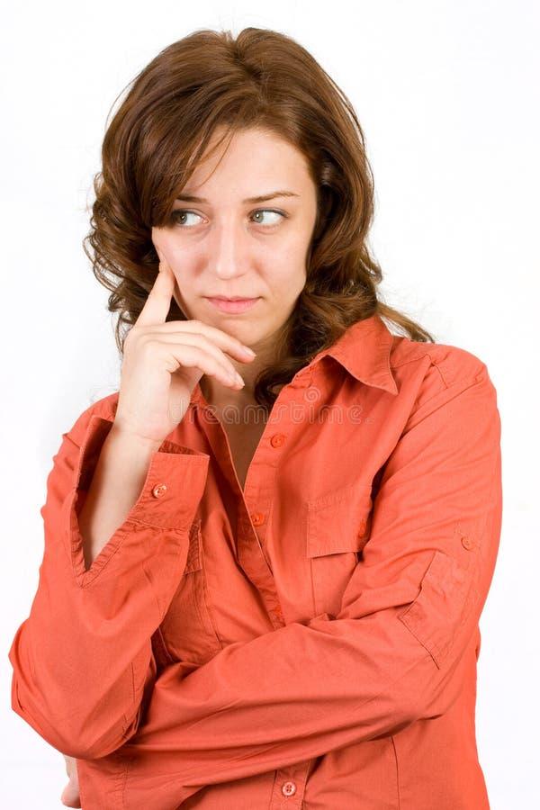 Mulher pensativa no branco fotos de stock