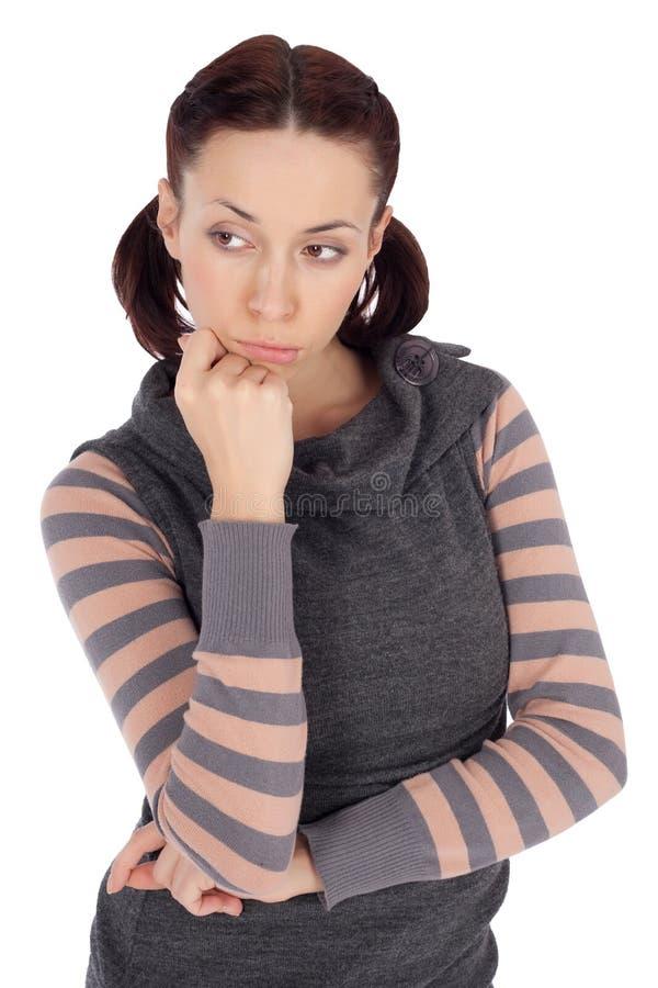 Mulher pensativa triste imagem de stock royalty free