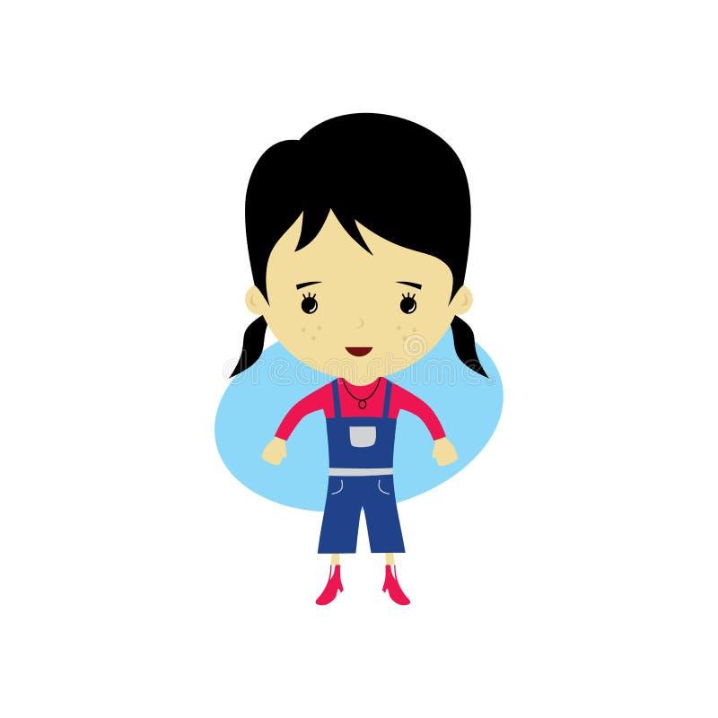 mulher pequena feliz bonito - desenhos animados adoráveis da menina ilustração royalty free