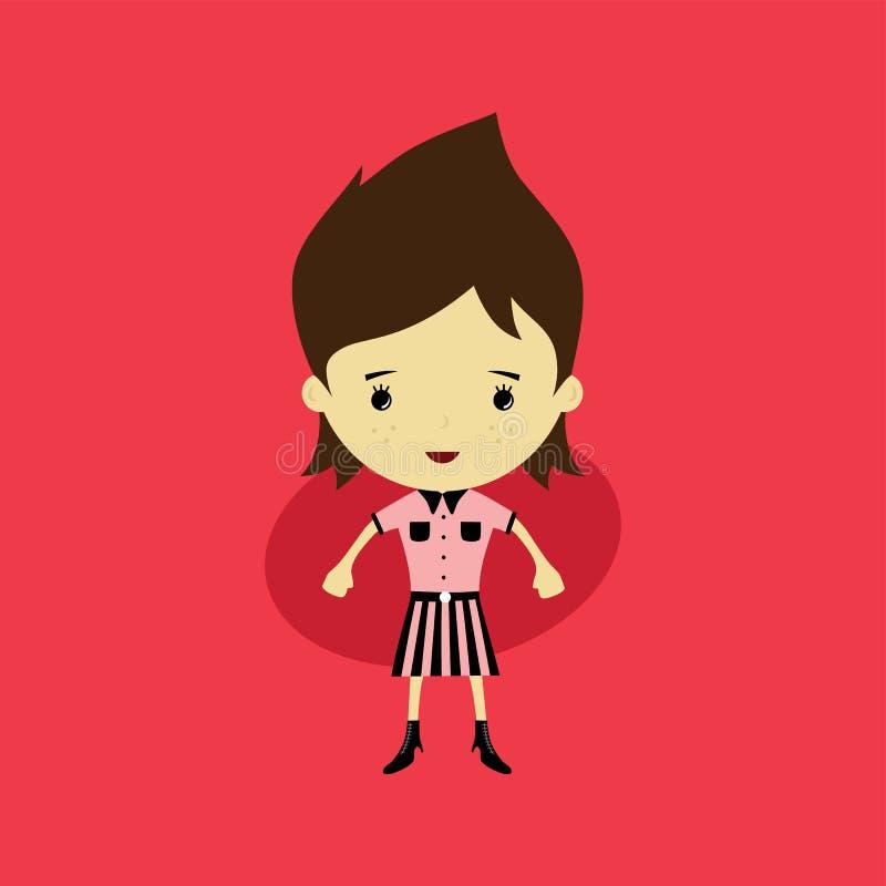 mulher pequena feliz bonito - desenhos animados adoráveis da menina ilustração stock