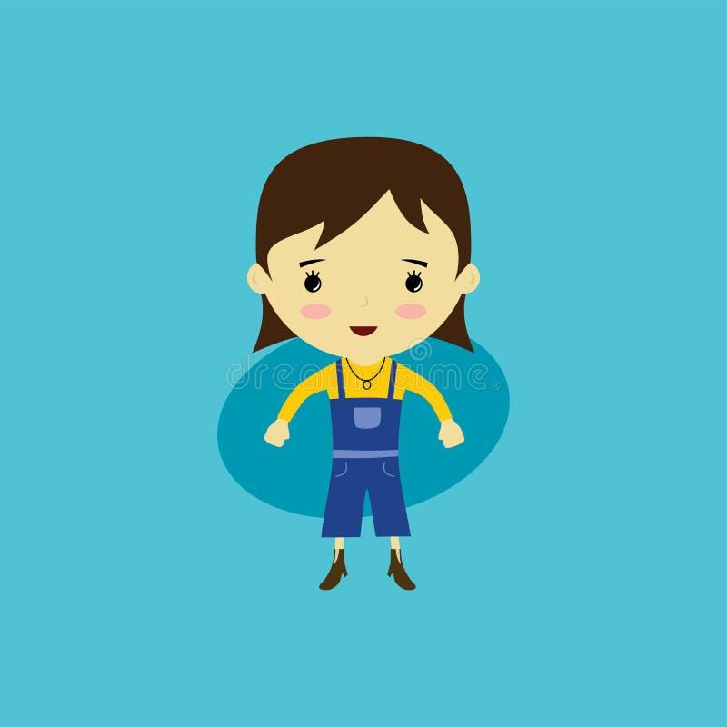 mulher pequena feliz bonito - desenhos animados adoráveis da menina ilustração do vetor