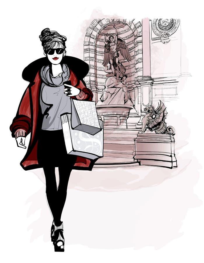 Mulher perto do Saint Michel em Paris ilustração stock