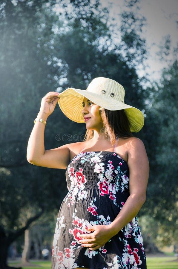 Mulher peruana grávida em uma floresta, menina peruana nova bonita que espera uma criança imagem de stock royalty free