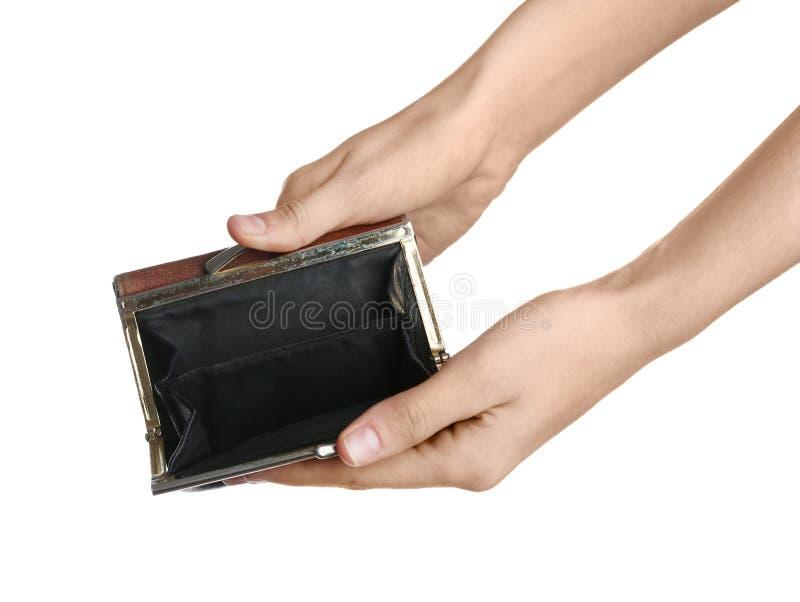 Mulher pobre que mostra sua carteira vazia fotos de stock