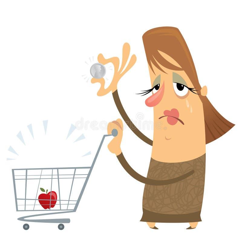 Mulher pobre triste sem dinheiro com um carro vazio que guardara somente um ilustração stock