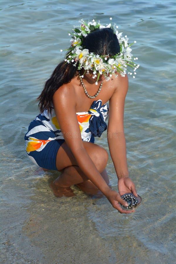 Mulher polinésia de Islander do cozinheiro que guarda pérolas pretas de Tahitian dentro fotografia de stock