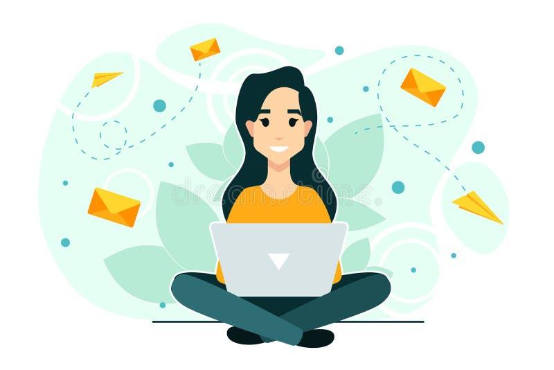 Mulher, portátil, bate-papo Processo dos trabalhos Rede social, a melhor avaliação do desempenho ilustração royalty free