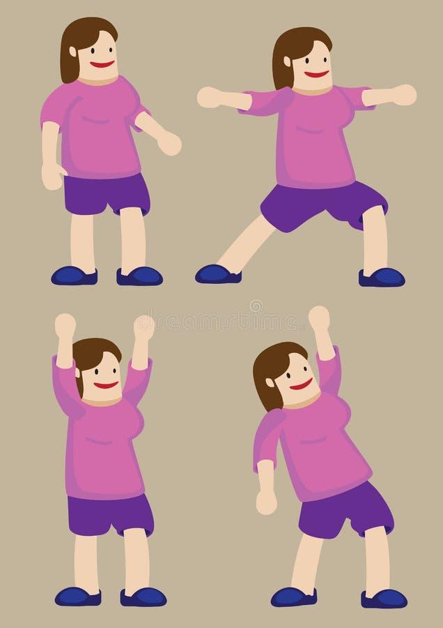 Mulher positiva do tamanho que exercita a ilustração dos desenhos animados do vetor ilustração royalty free
