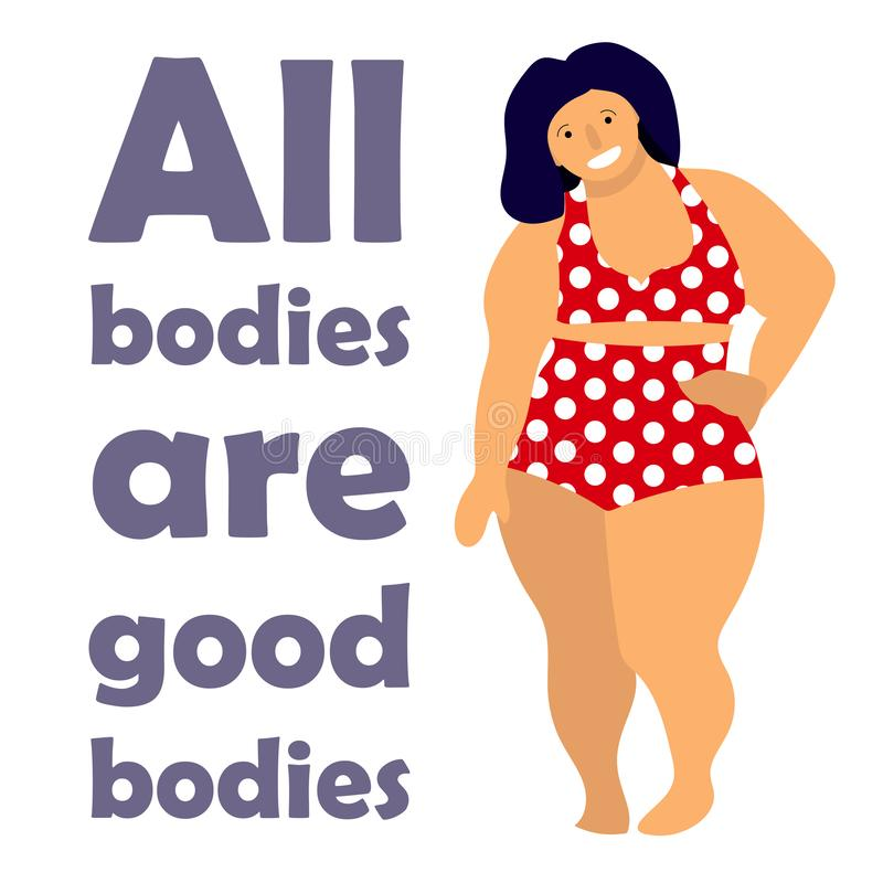 Mulher positiva feliz do tamanho Conceito feliz do positivo do corpo Todos os corpos são bom texto Mulher excesso de peso atrativ ilustração do vetor