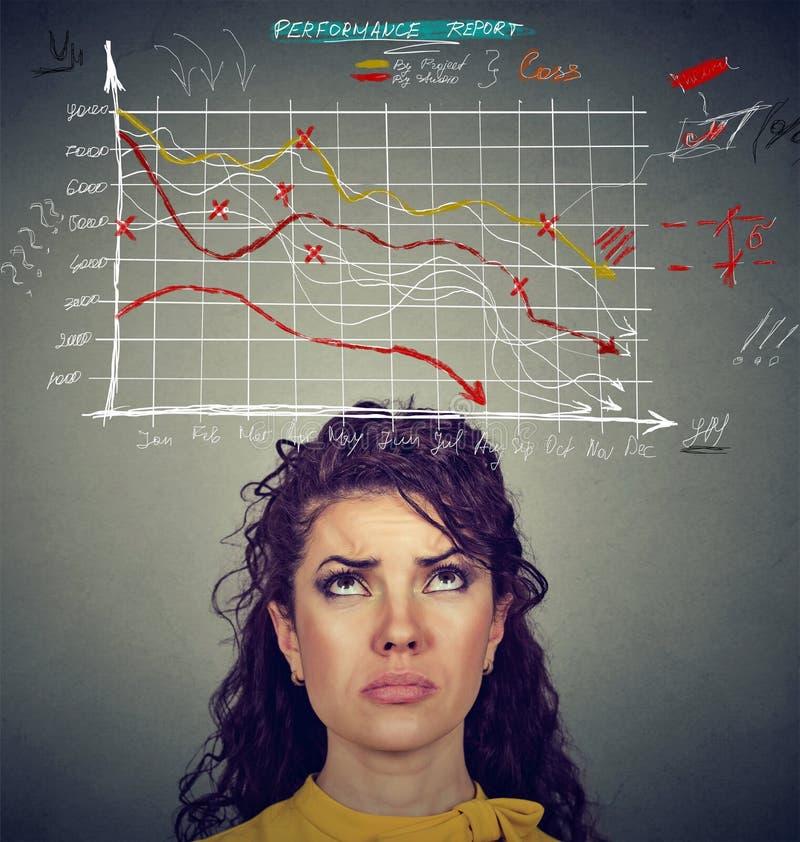 Mulher preocupada que olha as cartas financeiras que vão para baixo foto de stock royalty free