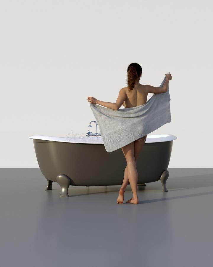 A mulher prepara-se para um banho imagem de stock royalty free
