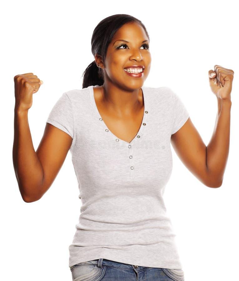 Mulher preta feliz imagem de stock
