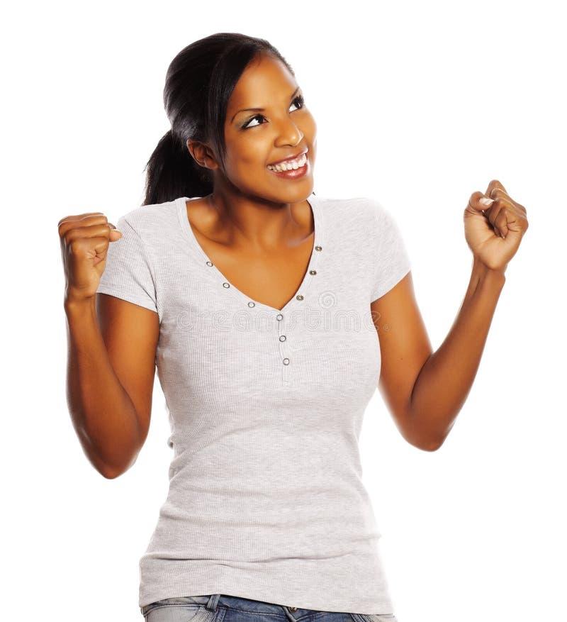 Mulher preta feliz fotografia de stock
