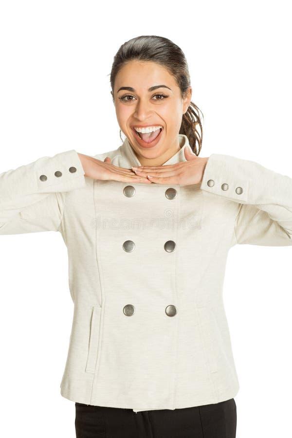 A mulher profissional nova vestiu-se para o negócio com um grande sorriso que olha feliz Grande conceito para o sucesso, a alegri imagem de stock