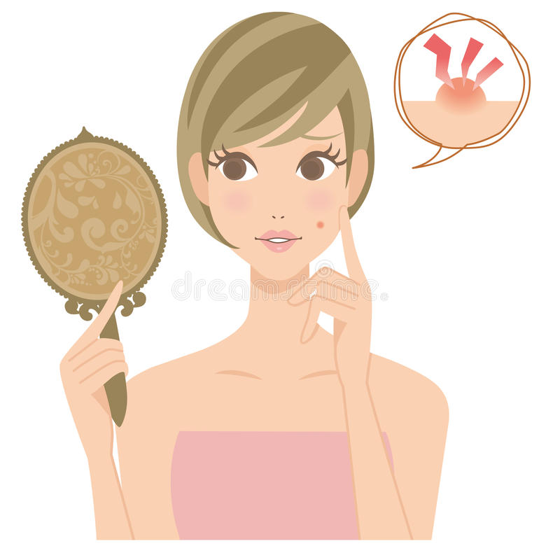 A mulher que é incomodada com uma espinha ilustração stock