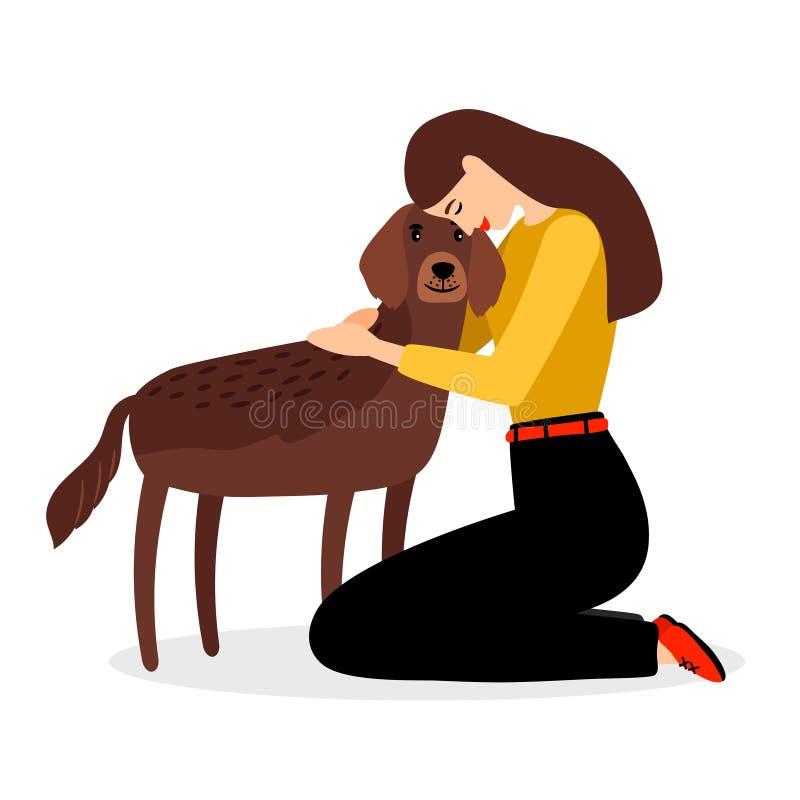Mulher que abraça o cão ilustração stock