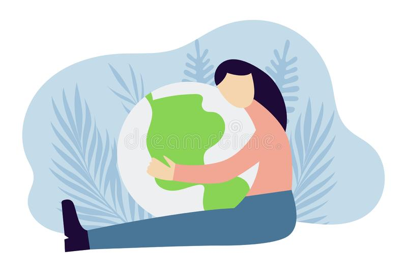 Mulher que abraça o planeta MULHER QUE GUARDA A TERRA Conceito da prote??o da ecologia Ilustra??o lisa moderna do vetor ilustração do vetor