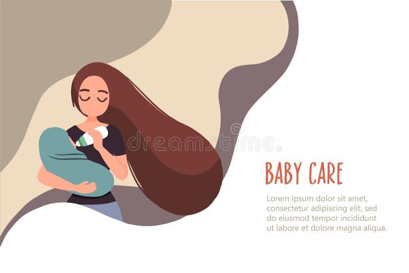 Mulher 11 que alimenta seu beb? ilustração do vetor
