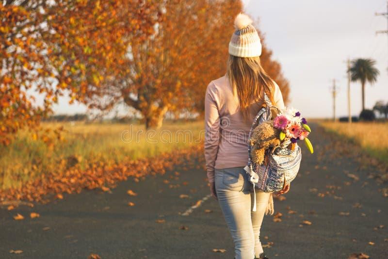 Mulher que anda ao longo de uma estrada secundária no outono imagem de stock