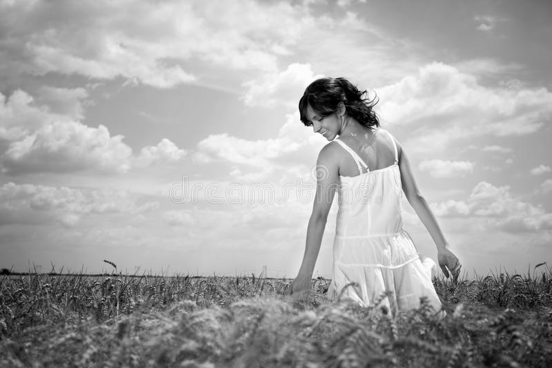 Mulher que anda através do campo de trigo, preto e branco foto de stock royalty free