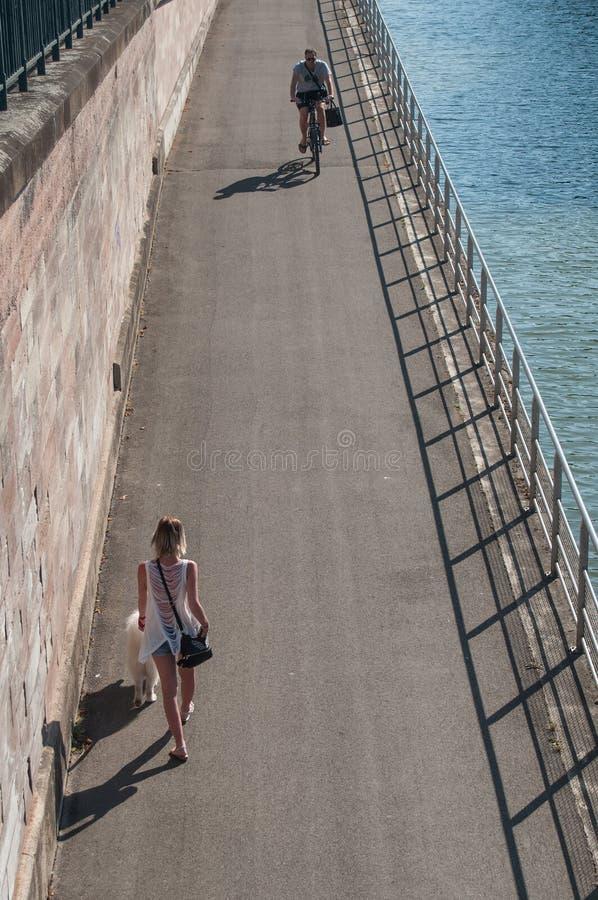 Mulher que anda com cão e ciclista no canal da beira em Mulhouse imagens de stock