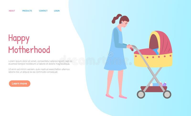 Mulher que anda com carrinho, vetor da Web da maternidade ilustração stock