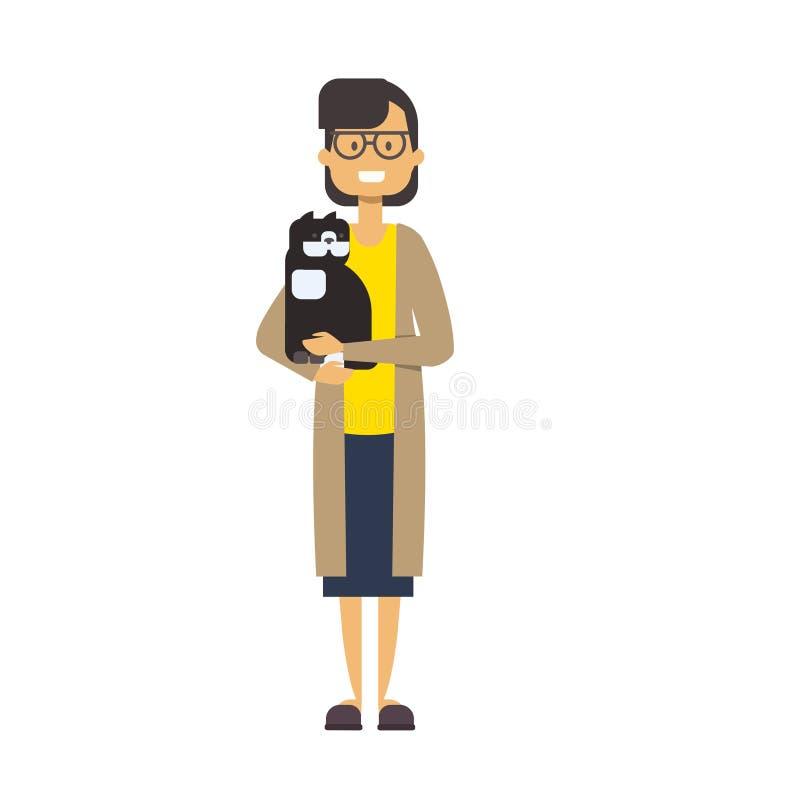 Mulher que anda com gato senhora completa do comprimento com os animais de estimação na dona de casa bonito do fundo branco, conc ilustração stock