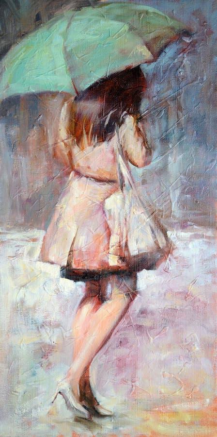 Mulher que anda com o guarda-chuva sob a chuva ilustração stock