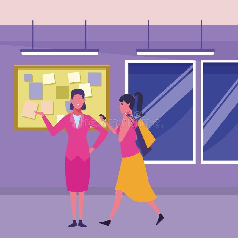 Mulher que anda com sacos de compras e sorriso da mulher de negócios ilustração do vetor