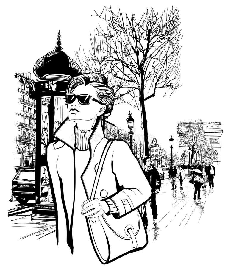 Mulher que anda na avenida de Champs-Elysees em Paris ilustração stock