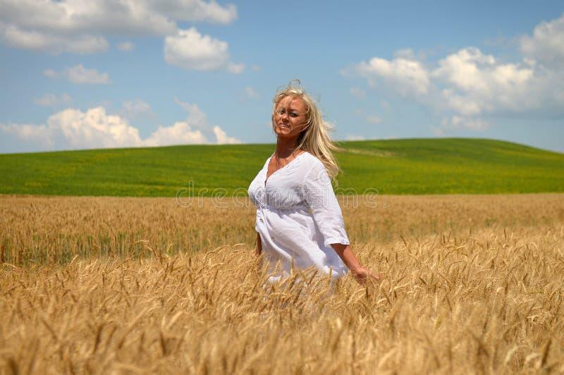 Mulher que anda no campo de trigo fotografia de stock