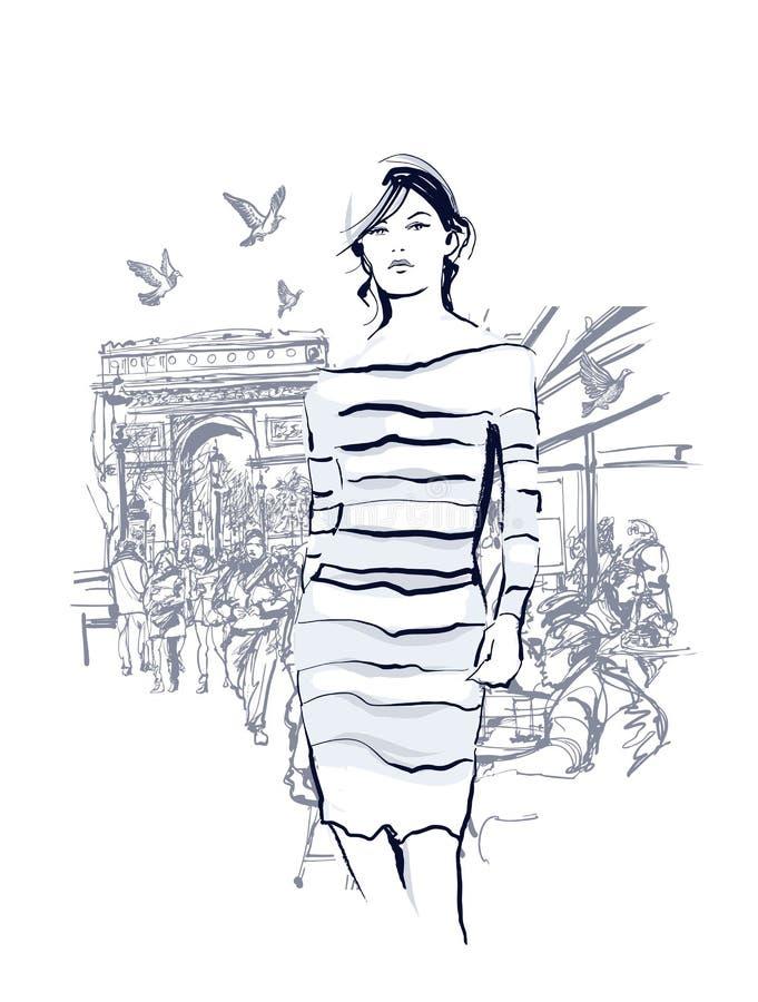 Mulher que anda no Champs-Elysees ilustração stock